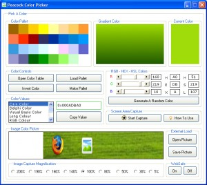 Peacock Color Picker for Web Designers, Programmers and Graphic Designers