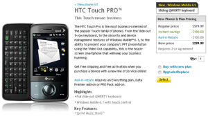 Sprint HTC Touch Pro is Available on the Sprint Online Store