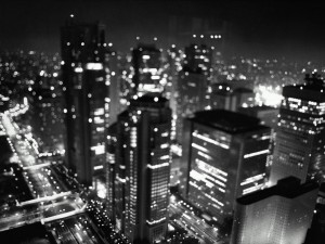 Black and White Wallpaper Busy Night Photo
