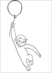 Curious George Baloons Coloring Pages Image