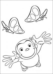 Curious George Butterfly Coloring Pages Picture