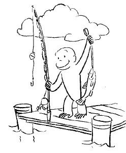 Curious George Fishing Coloring Pages Picture