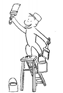 Curious George Painting Coloring Pages Picture