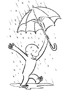 Curious George Rainy Coloring Pages Image