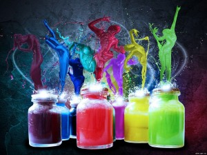 Colorful Paint Bottle Desktop Background Picture