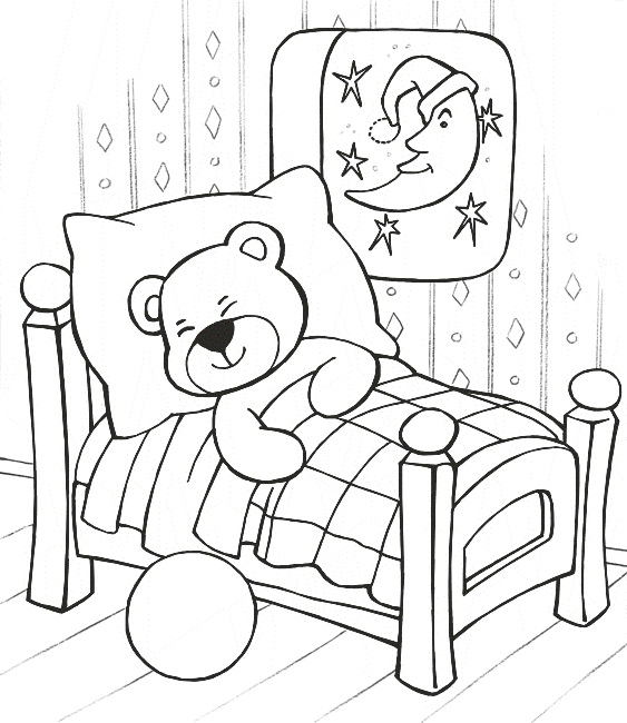 Free printable teddy bear coloring pages technosamrat for Sleeping coloring pages