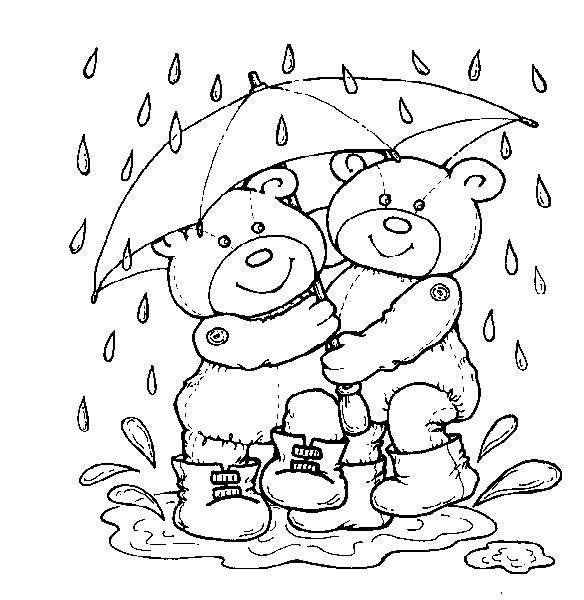 Bears In Rain Colouring Pages