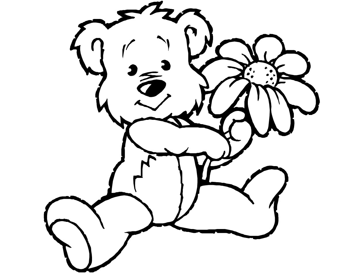 Free Coloring Pages Of Teddy Bear Holding Flower Free Teddy Coloring Pages
